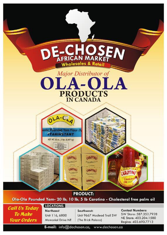 De-Chosen now a major distributor of Ola-Ola Products in Canada